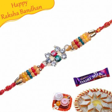 Buy Pearls, Diamond Beads Rakhi Online on Rakshabandhan with India, worldwide delivery options