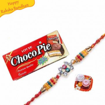 Buy Lotte Choco Pie With Rakhi Online on Rakshabandhan with India, worldwide delivery options