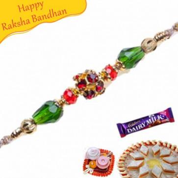 Buy Crystal Beads With American Diamond Rakhi Online on Rakshabandhan with India, worldwide delivery options