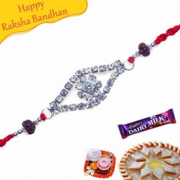 Buy American Diamond With Rudraksh Beads Rakhi Online on Rakshabandhan with India, worldwide delivery options