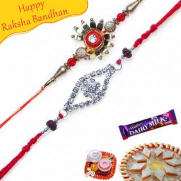 Buy Two Premium Zardozi,Beads and Stones Rakhi set Online on Rakshabandhan with India, worldwide delivery options