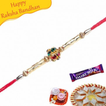 Buy Golden Pipes With American Diamond Ball In Centre Online on Rakshabandhan with India, worldwide delivery options