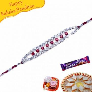 Buy American Diamond Hoop Multi Colour Rakhi Online on Rakshabandhan with India, worldwide delivery options