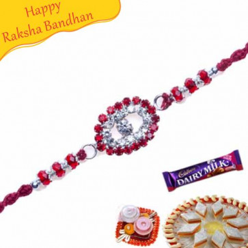 Buy American Diamond With Red Beads Diamond Rakhi Online on Rakshabandhan with India, worldwide delivery options