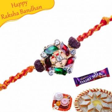 Buy Kundan Art, With Rudraksh American Diamond Rakhi Online on Rakshabandhan with India, worldwide delivery options