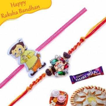 Buy Velvet Zardosi Rakhi AND Chota Bheem rakhi pair Online on Rakshabandhan with India, worldwide delivery options