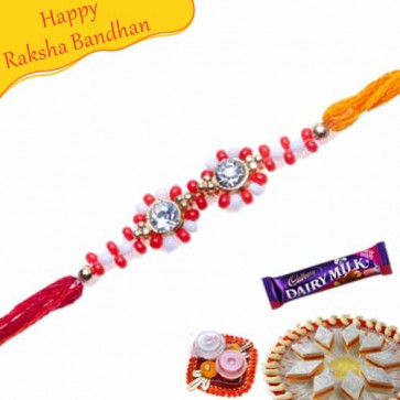 Buy White And Red Beads With American Diamond On Top Online on Rakshabandhan with India, worldwide delivery options