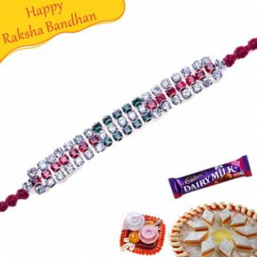 Buy Three American Diamond Hoop Thread Rakhi Online on Rakshabandhan with India, worldwide delivery options