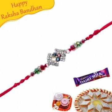 Buy Crystal Diamond Rakhi With Beads Online on Rakshabandhan with India, worldwide delivery options