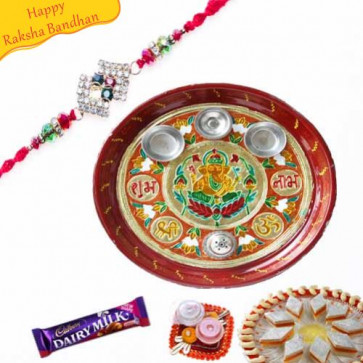 Buy Rakhi Thali Decorated Online on Rakshabandhan with India, worldwide delivery options