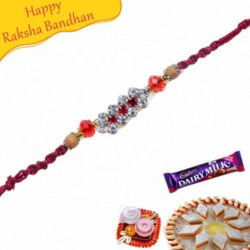 Buy Copper Beads Daimond Rakhi Online on Rakshabandhan with India, worldwide delivery options
