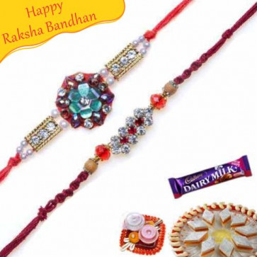 Buy Pearl and Jewelled Rakhi pair Online on Rakshabandhan with India, worldwide delivery options