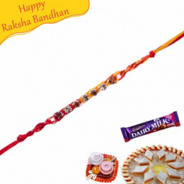 Buy Red Beads, Thread Diamond Rakhi Online on Rakshabandhan with India, worldwide delivery options