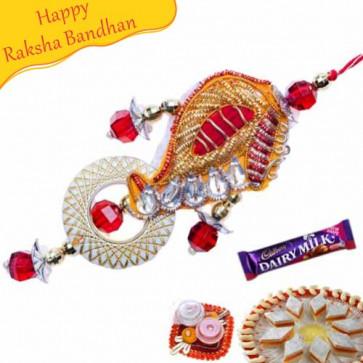 Buy Zardosi Work Paisley Design Lumba Rakhi Online on Rakshabandhan with India, worldwide delivery options