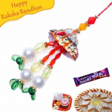 Buy Metallic Red Crystal Lumba Rakhi Online on Rakshabandhan with India, worldwide delivery options
