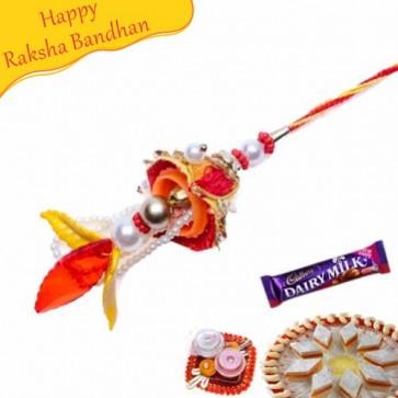 Buy Glass Cut Leaf Design Lumba Rakhi Online on Rakshabandhan with India, worldwide delivery options