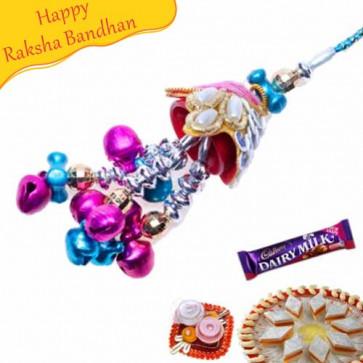 Buy Blue Beads Lumba rakhi Online on Rakshabandhan with India, worldwide delivery options
