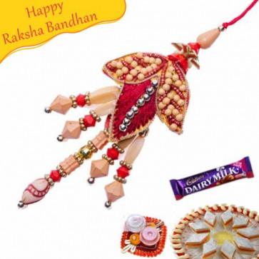 Buy Flower Design With Pearls Fancy Rakhi Online on Rakshabandhan with India, worldwide delivery options