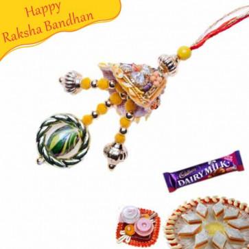 Buy Wooden Beads And Diamond Fancy Rakhi Online on Rakshabandhan with India, worldwide delivery options