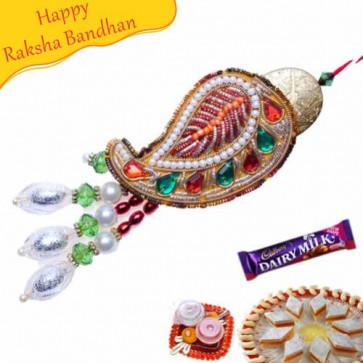 Buy Paisley Design Zardosi Lumba Rakhi Online on Rakshabandhan with India, worldwide delivery options