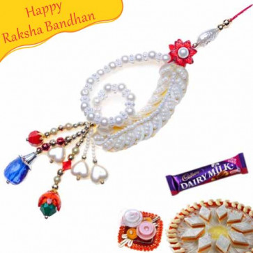 Buy Floral Design With Crystal And Pearls Fancy Rakhi Online on Rakshabandhan with India, worldwide delivery options