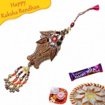Buy Metallic Paisley Design Lumba Rakhi Online on Rakshabandhan with India, worldwide delivery options
