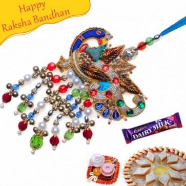 Buy Heavy Zardosi Peacock Lumba Rakhi Online on Rakshabandhan with India, worldwide delivery options