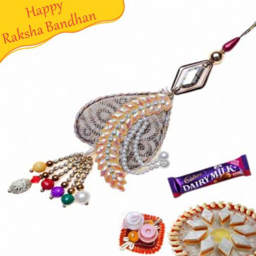 Buy AntiqueTraditional Finish Zardosi Lumba Rakhi Online on Rakshabandhan with India, worldwide delivery options