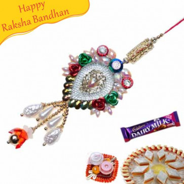 Buy Big Heavy Stone Work Lumba Rakhi Online on Rakshabandhan with India, worldwide delivery options