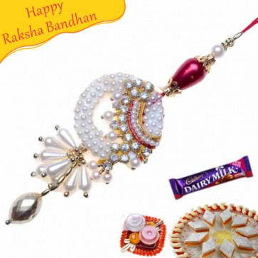 Buy Red And White Diamond With Silver Beads Fancy Rakhi Online on Rakshabandhan with India, worldwide delivery options