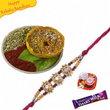 Buy Kesar Ghebar With Rakhi Online on Rakshabandhan with India, worldwide delivery options