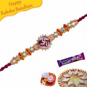 Buy Swastik Jewelled Rakhi Online on Rakshabandhan with India, worldwide delivery options