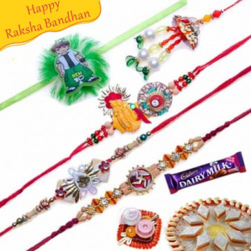 Buy Swastik and Wooden Beads , Ben10 Kids Five Pieces Rakhi Set Online on Rakshabandhan with India, worldwide delivery options