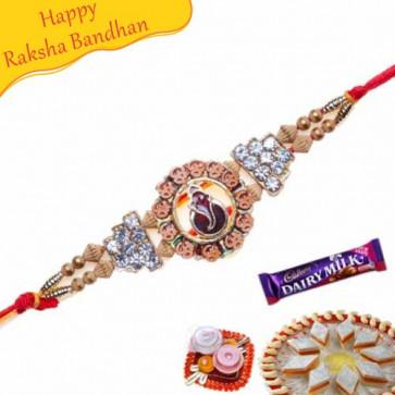 Buy Om, Ganesha Jewelled Rakhi Online on Rakshabandhan with India, worldwide delivery options