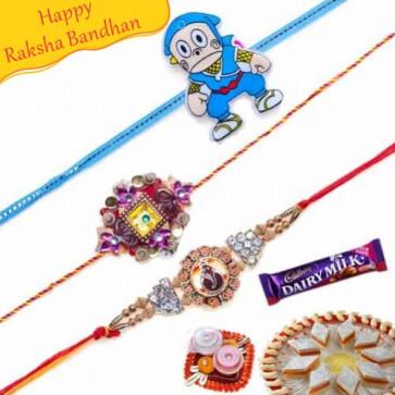 Buy Kundan Zardosi and Ganesha Diamond Rakhis Trio Online on Rakshabandhan with India, worldwide delivery options