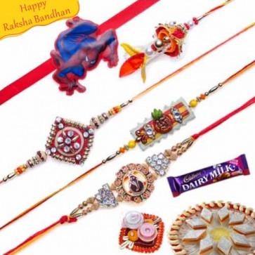 Buy Stones, Zardozi ,Wooden Beads Five Pieces Rakhi Set Online on Rakshabandhan with India, worldwide delivery options