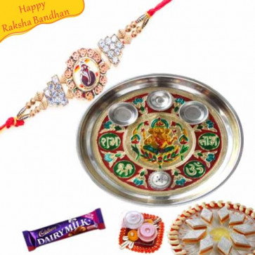 Buy Gnesha Diamond with Rakhi Thali Online on Rakshabandhan with India, worldwide delivery options