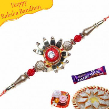 Buy Floral Design Jewelled Rakhi Online on Rakshabandhan with India, worldwide delivery options