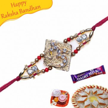 Buy Om Jewelled Rakhi Online on Rakshabandhan with India, worldwide delivery options