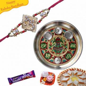 Buy Rakhi Thali With OM Jewelled Rakhi Online on Rakshabandhan with India, worldwide delivery options