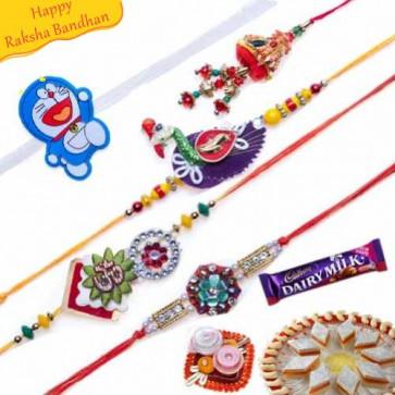Buy Sequins, Beads, Stones ,Mauli and Velvet Five Pieces Rakhi Set Online on Rakshabandhan with India, worldwide delivery options