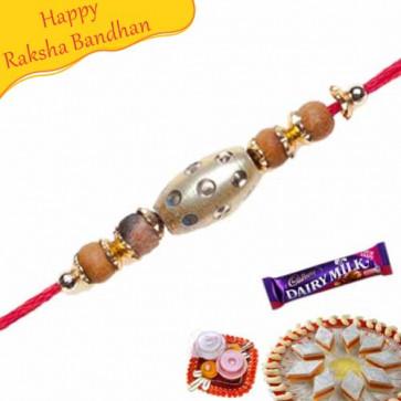 Buy Gold Cylinder Jewelled Rakhi Online on Rakshabandhan with India, worldwide delivery options