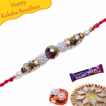 Buy Multicolour Pearls And Diamond Pearl Rakhi Online on Rakshabandhan with India, worldwide delivery options