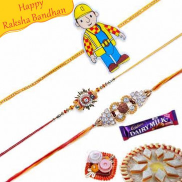 Buy Rudraksh and Diamond, Kids Rakhis Trio Online on Rakshabandhan with India, worldwide delivery options