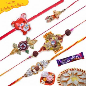 Buy Rudraksh, Zardozi and Beads Five Pieces Rakhi Set Online on Rakshabandhan with India, worldwide delivery options