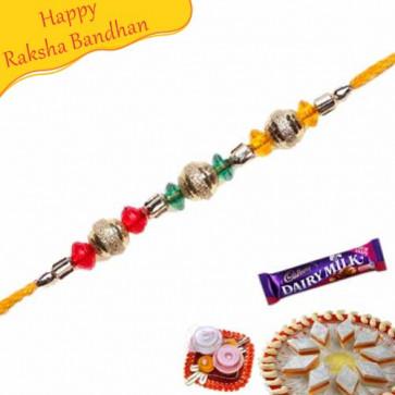 Buy Golden Balls Jewelled Rakhi Online on Rakshabandhan with India, worldwide delivery options