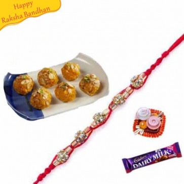 Buy kesar bundi ladu with rakhi Online on Rakshabandhan with India, worldwide delivery options