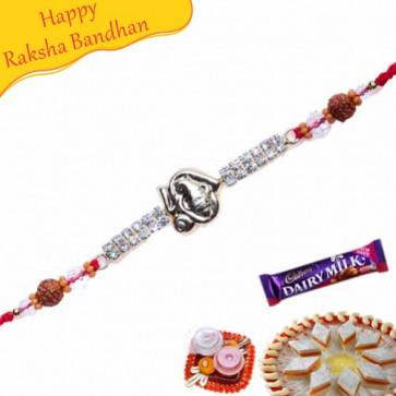 Buy Ganesha Auspicious Diamond Rakhi Online on Rakshabandhan with India, worldwide delivery options