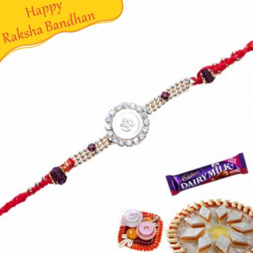 Buy Om, Rudraksh Jewelled Rakhi Online on Rakshabandhan with India, worldwide delivery options