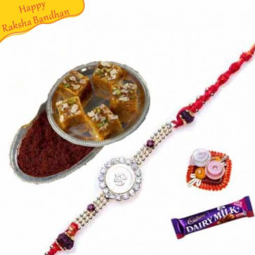 Buy Kesar Mohanthal with rakhi Online on Rakshabandhan with India, worldwide delivery options
